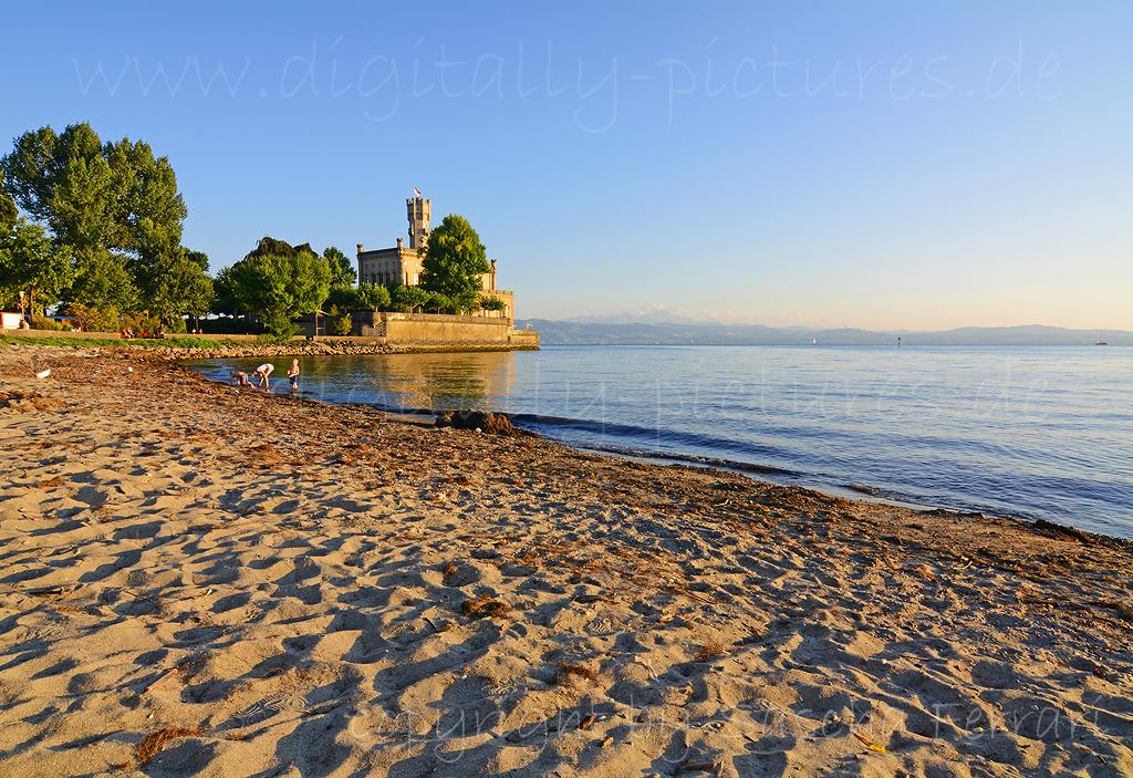 Schloss Montfort Bodensee Strand Abendsonne Langenargen